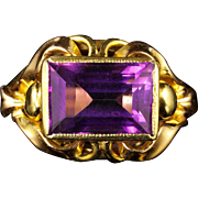 Antique Victorian Amethyst Ring Circa 1900 18ct Gold Arts and Crafts