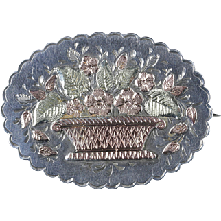 Antique Victorian Silver Gold Basket Brooch Circa 1888