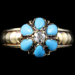 Antique Georgian Turquoise Diamond Ring Circa 1800