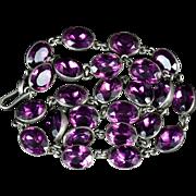 Antique Georgian Purple Paste Silver Necklace Circa 1800