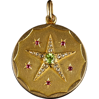 Antique Victorian Suffragette Locket Diamond Peridot Ruby 18ct Gold