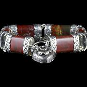 Antique Victorian Scottish Silver Bracelet With Padlock Locket Circa 1860