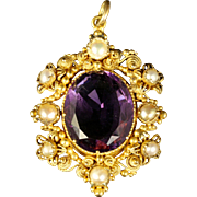 Antique Georgian Amethyst Pearl Gold Pendant Circa 1800