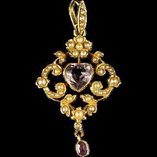 Antique Victorian Amethyst Heart Pendant 15ct Gold Circa 1900