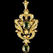 Antique Victorian Demantoid Green Garnet Pendant 15ct Gold Brooch