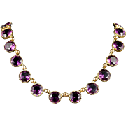 Antique Victorian Purple Paste Necklace Circa 1860