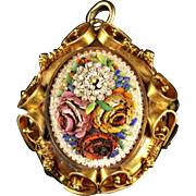 Antique Victorian Micro Mosaic Locket 18ct Gold