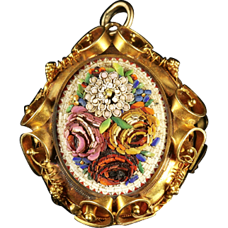 Antique Victorian Micro Mosaic Locket 18ct Gold
