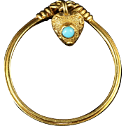 Georgian Gold Heart Dropper Ring Turquoise in a Heart Box Circa 1780