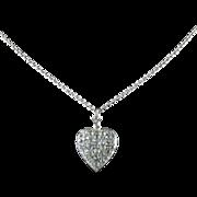 Antique Georgian Heart Pendant Chain Silver Paste