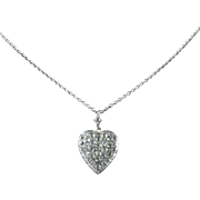 Antique Georgian Heart Pendant Chain Silver Paste