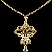 Antique Victorian Peridot 9ct Gold Pearl Pendant Brooch Necklace Circa 1900