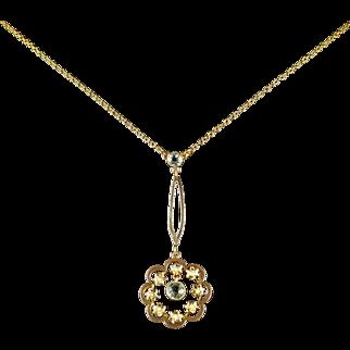 Antique Victorian Aquamarine Pendant Necklace 18ct Gold