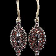 Antique Victorian Garnet Gold Earrings Circa 1900