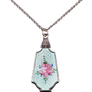 Antique Art Deco Suffragette Enamel Locket Pendant Necklace Silver