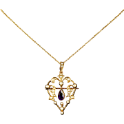 Antique Victorian Amethyst Pendant Brooch 15ct Gold Necklace Heart Shape Circa 1900