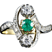 Antique Victorian French Emerald and Diamond Ring Circa 1900