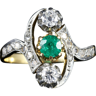 Antique Victorian Emerald and Diamond Ring Circa 1900
