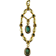 Antique Victorian Turquoise and Pearl Pendant Circa 1880