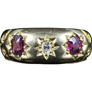 Antique Edwardian Ruby Diamond Ring Dated 1905