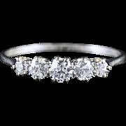 Antique Edwardian Five Stone Diamond Eternity Ring 18ct White Gold