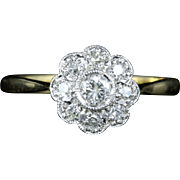 Antique Edwardian Diamond Cluster Ring 18ct Gold Plat