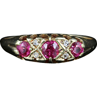 Antique Victorian Ruby Diamond Ring Dated London 1869
