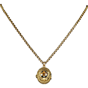 Antique Victorian Fox Hunting Necklace Gold Locket and Chain Circa 1900
