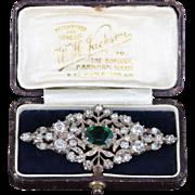 Antique Georgian Silver Green Paste Brooch Original Box