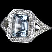 Aquamarine Diamond Ring Art Deco 2.5ct Emerald Cut Aquamarine 18ct Gold