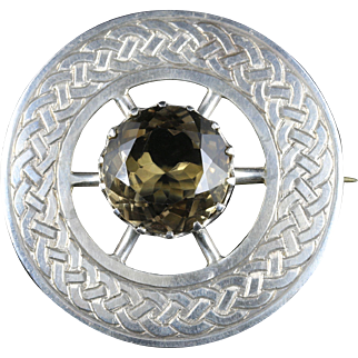 Scottish Silver Celtic Brooch Citrine Centre