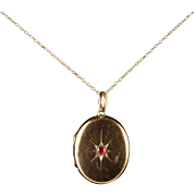 Antique Victorian Ruby Gold Locket and Chain Circa 1900
