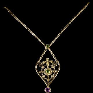 Antique Suffragette Pendant Necklace Gold Circa 1900