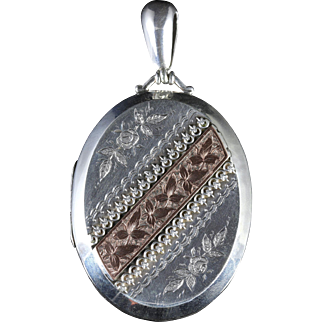 Antique Silver Gold Victorian Locket Dated 1883