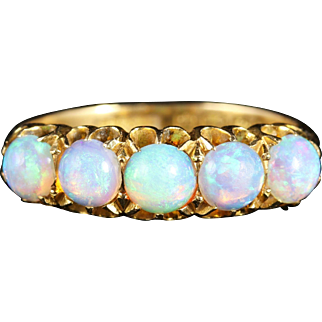 Antique Victorian Opal Gold Ring Natural Opal Blues 1901