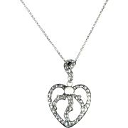 Antique Victorian Silver Heart Paste Pearl Pendant And Necklace