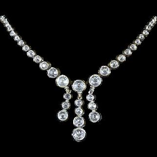 Georgian Long Paste Cascading Necklace Circa 1800