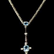 Antique Edwardian Aquamarine Pearl Necklace