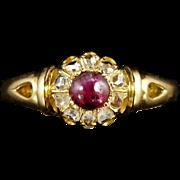 Antique Victorian Ruby Diamond 18ct Ring Circa 1900