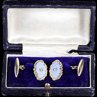 Antique Victorian Gold Enamel Diamond Cufflinks Boxed Circa 1880