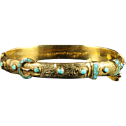 Antique Victorian Turquoise Gold Bangle 18ct Gold