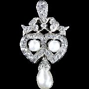 Antique Edwardian Silver Pearl Paste Double Heart Pendant