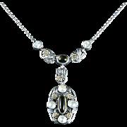 Arts Crafts Silver Blister Pearl Citrine Pendant Necklace Circa 1900