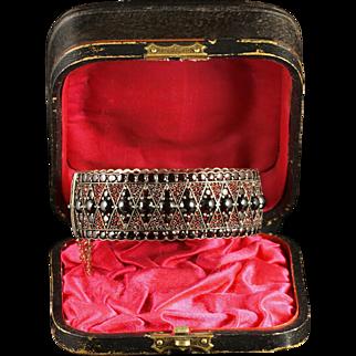 Antique Victorian Bohemian Garnet Bangle Boxed Circa 1880