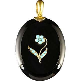 Antique Victorian French Jet Locket Turquoise Flower Forget Me Not Circa 1850