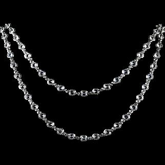 Antique Victorian Long Silver Paste Necklace Circa 1900