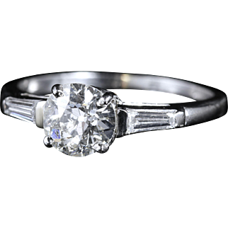 Antique Art Deco Diamond Solitaire Ring Circa 1920 Baguette Diamond Shoulders Engagement Ring