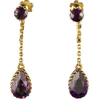 Antique Victorian Amethyst Gold Earrings Screw Fittings