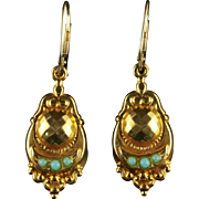 Antique Edwardian Turquoise Gold Earrings Dated 1909