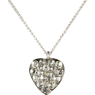 Antique Georgian Paste Heart Necklace Circa 1800